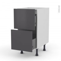 Meuble de cuisine - Casserolier - GINKO Gris - 2 tiroirs - L40 x H70 x P58 cm