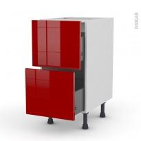 Meuble de cuisine - Casserolier - STECIA Rouge - 2 tiroirs - L40 x H70 x P58 cm