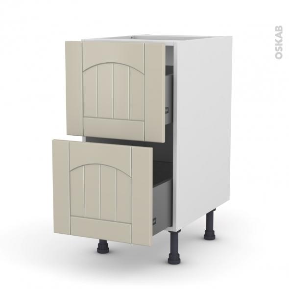 SILEN Argile - Meuble casserolier  - 2 tiroirs - L40xH70xP58