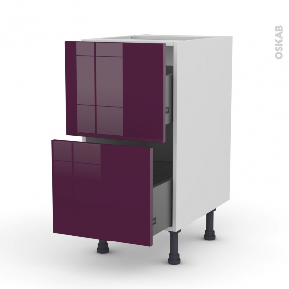 Meuble de cuisine - Casserolier - KERIA Aubergine - 2 tiroirs - L40 x H70 x P58 cm