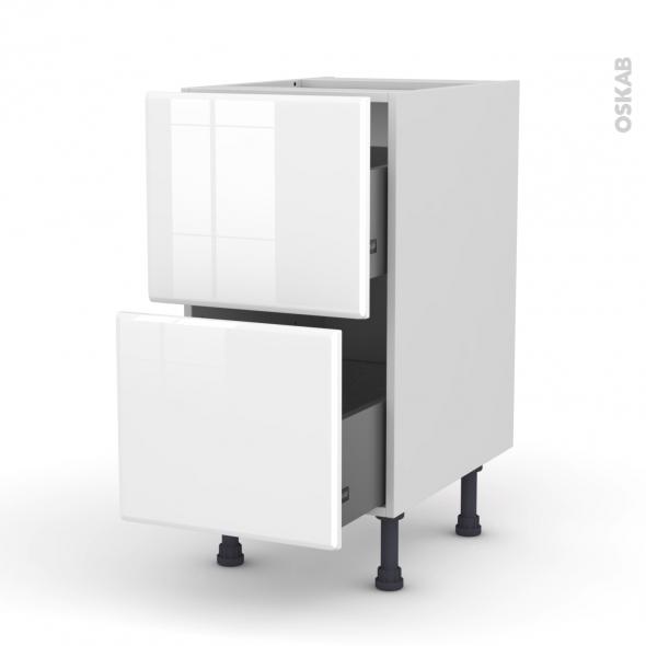 Meuble de cuisine - Casserolier - IRIS Blanc - 2 tiroirs - L40 x H70 x P58 cm