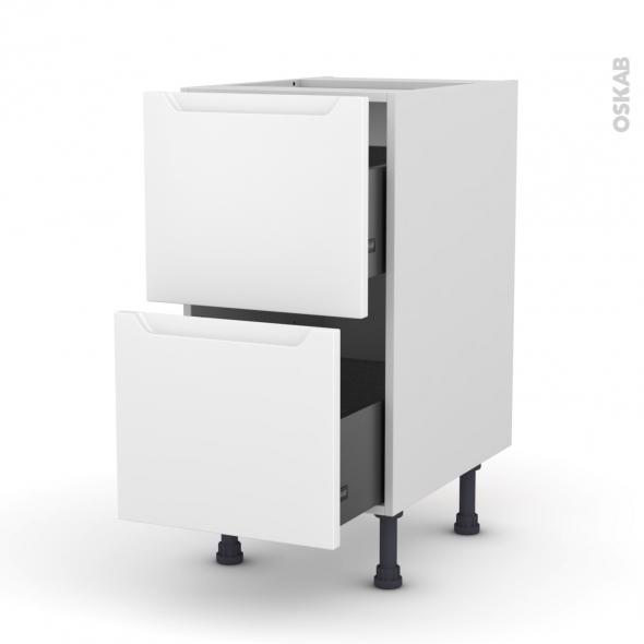 Meuble de cuisine - Casserolier - PIMA Blanc - 2 tiroirs - L40 x H70 x P58 cm