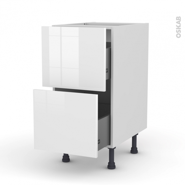 Meuble de cuisine - Casserolier - STECIA Blanc - 2 tiroirs - L40 x H70 x P58 cm