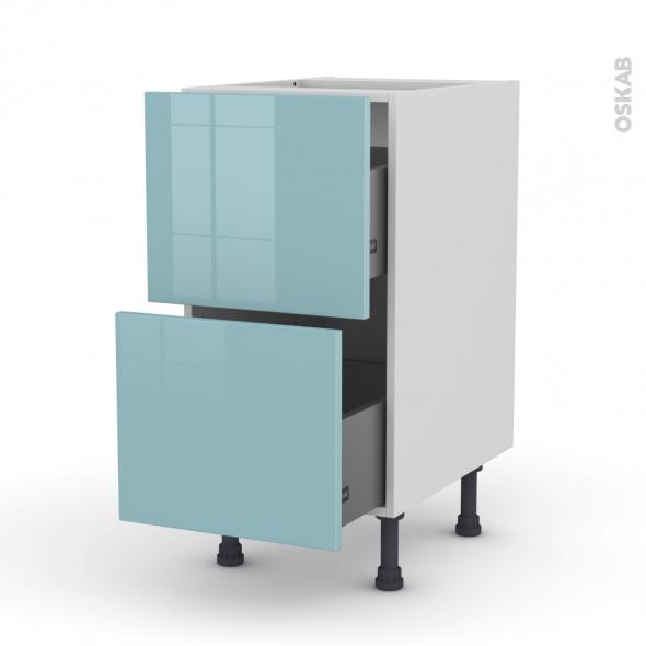 Meuble de cuisine - Casserolier - KERIA Bleu - 2 tiroirs - L40 x H70 x P58 cm