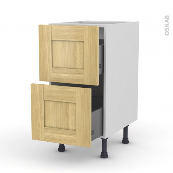 BASILIT Bois Brut - Meuble casserolier  - 2 tiroirs - L40xH70xP58