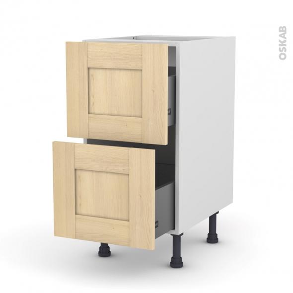 BETULA Bouleau - Meuble casserolier  - 2 tiroirs - L40xH70xP58
