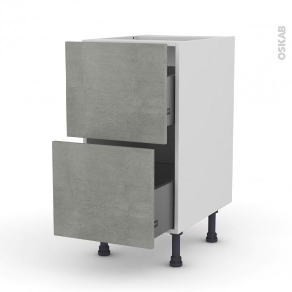 Meuble de cuisine - Casserolier - FAKTO Béton - 2 tiroirs - L40 x H70 x P58 cm