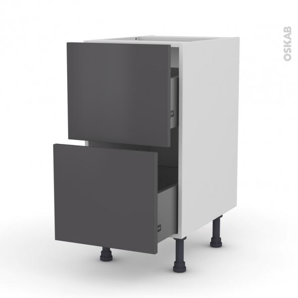 GINKO Gris - Meuble casserolier  - 2 tiroirs - L40xH70xP58