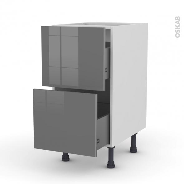Meuble de cuisine - Casserolier - STECIA Gris - 2 tiroirs - L40 x H70 x P58 cm