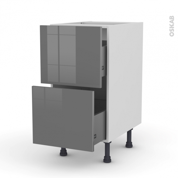 STECIA Gris - Meuble casserolier  - 2 tiroirs - L40xH70xP58