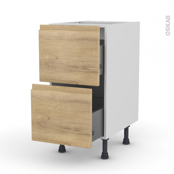 Meuble de cuisine - Casserolier - IPOMA Chêne naturel - 2 tiroirs - L40 x H70 x P58 cm