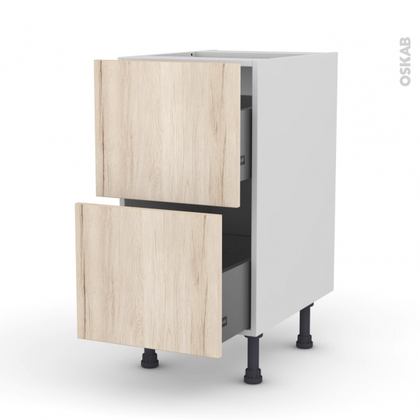 Meuble de cuisine - Casserolier - IKORO Chêne clair - 2 tiroirs - L40 x H70 x P58 cm