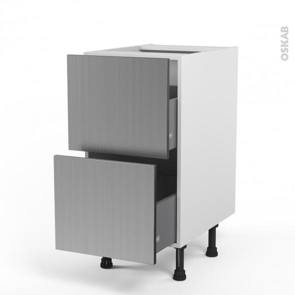 STILO Inox - Meuble casserolier  - 2 tiroirs - L40xH70xP58