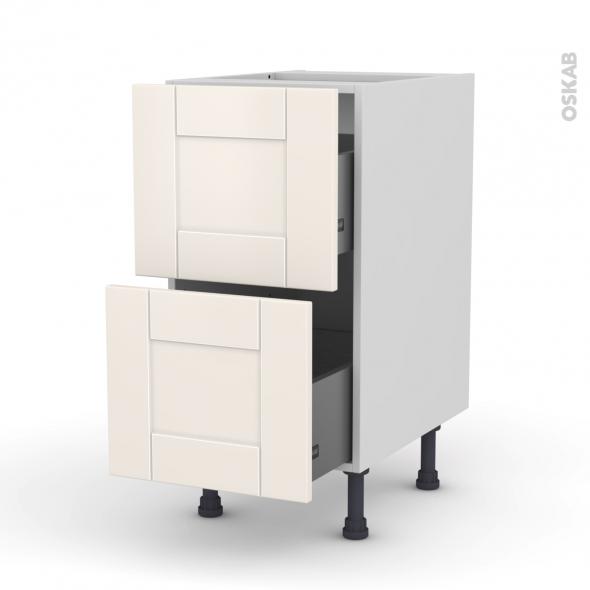 Meuble de cuisine - Casserolier - FILIPEN Ivoire - 2 tiroirs - L40 x H70 x P58 cm