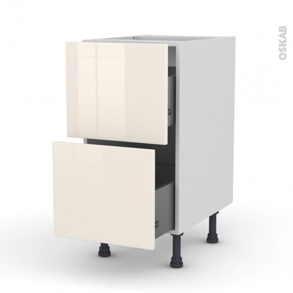 Meuble de cuisine - Casserolier - KERIA Ivoire - 2 tiroirs - L40 x H70 x P58 cm