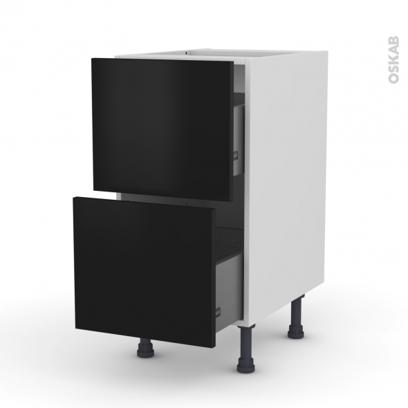 Meuble de cuisine - Casserolier - GINKO Noir - 2 tiroirs - L40 x H70 x P58 cm
