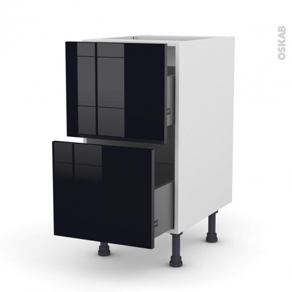 Meuble de cuisine - Casserolier - KERIA Noir - 2 tiroirs - L40 x H70 x P58 cm