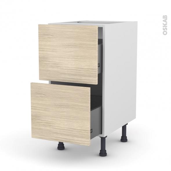 Meuble de cuisine - Casserolier - STILO Noyer Blanchi - 2 tiroirs - L40 x H70 x P58 cm