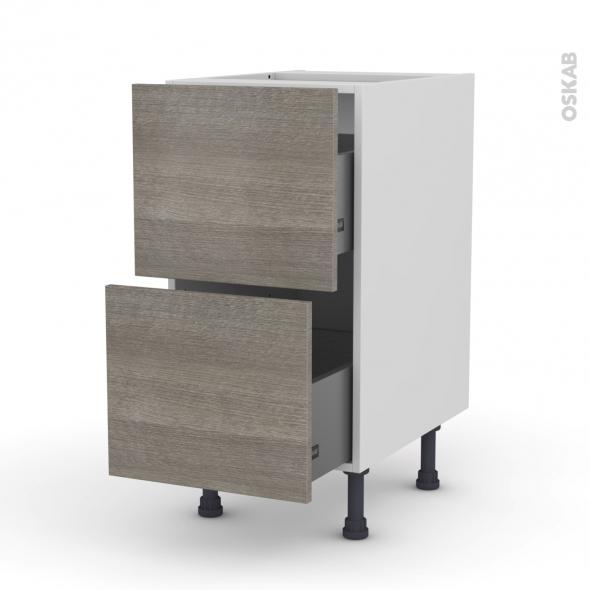 Meuble de cuisine - Casserolier - STILO Noyer Naturel - 2 tiroirs - L40 x H70 x P58 cm