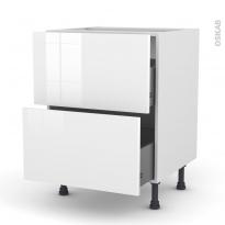 Meuble de cuisine - Casserolier - STECIA Blanc - 2 tiroirs - L60 x H70 x P58 cm