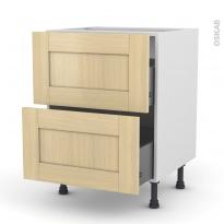 BASILIT Bois Vernis - Meuble casserolier  - 2 tiroirs - L60xH70xP58