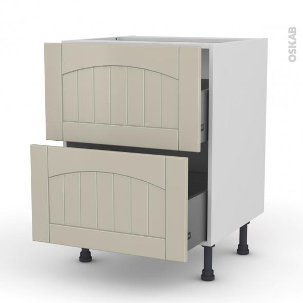 SILEN Argile - Meuble casserolier  - 2 tiroirs - L60xH70xP58