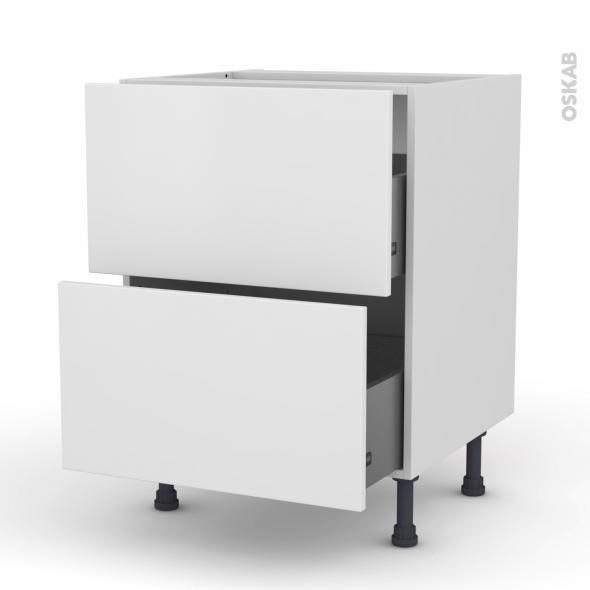 Meuble de cuisine - Casserolier - GINKO Blanc - 2 tiroirs - L60 x H70 x P58 cm