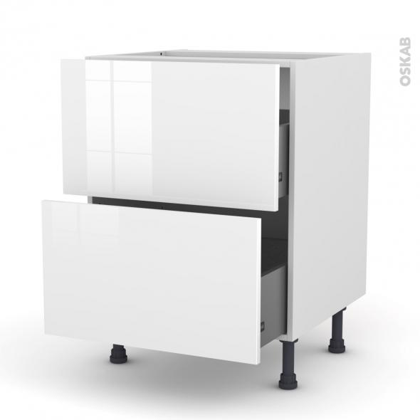 STECIA Blanc - Meuble casserolier  - 2 tiroirs - L60xH70xP58