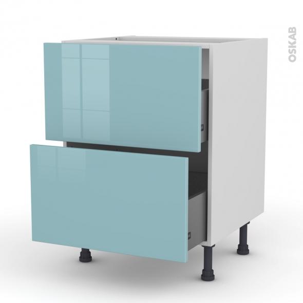 Meuble de cuisine - Casserolier - KERIA Bleu - 2 tiroirs - L60 x H70 x P58 cm