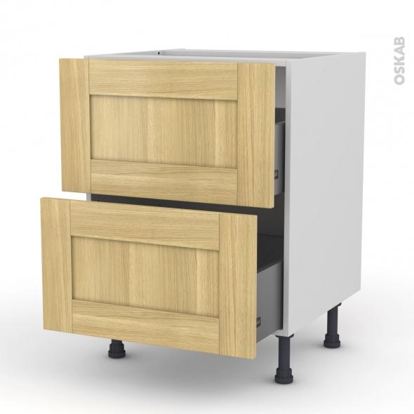 BASILIT Bois Brut - Meuble casserolier  - 2 tiroirs - L60xH70xP58