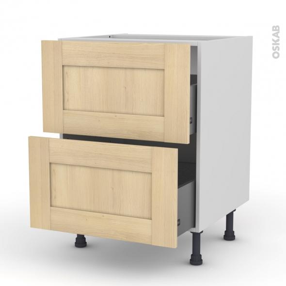 BETULA Bouleau - Meuble casserolier  - 2 tiroirs - L60xH70xP58