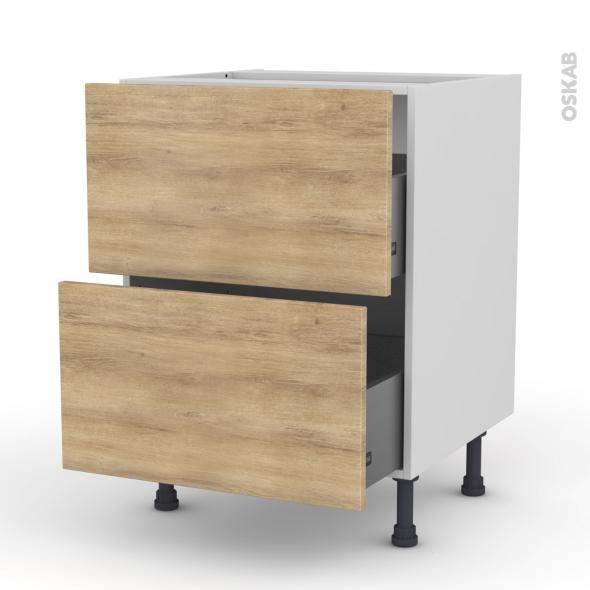 Meuble de cuisine - Casserolier - HOSTA Chêne naturel - 2 tiroirs - L60 x H70 x P58 cm
