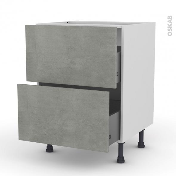 Meuble de cuisine - Casserolier - FAKTO Béton - 2 tiroirs - L60 x H70 x P58 cm