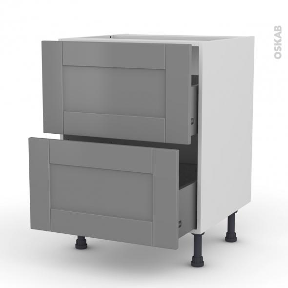 Meuble de cuisine - Casserolier - FILIPEN Gris - 2 tiroirs - L60 x H70 x P58 cm