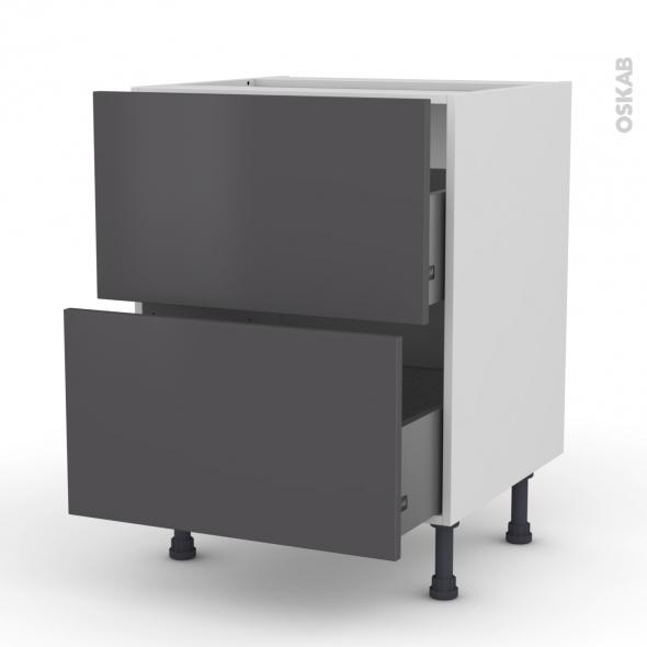 GINKO Gris - Meuble casserolier  - 2 tiroirs - L60xH70xP58