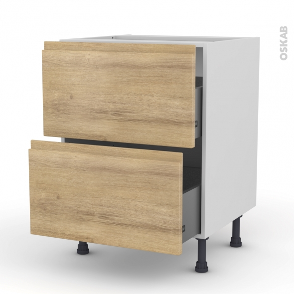 Meuble de cuisine - Casserolier - IPOMA Chêne naturel - 2 tiroirs - L60 x H70 x P58 cm