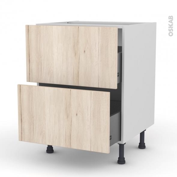 Meuble de cuisine - Casserolier - IKORO Chêne clair - 2 tiroirs - L60 x H70 x P58 cm
