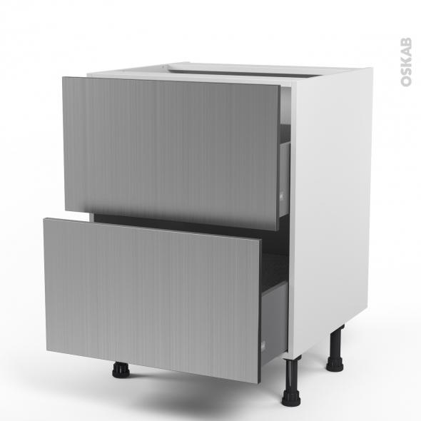 STILO Inox - Meuble casserolier  - 2 tiroirs - L60xH70xP58