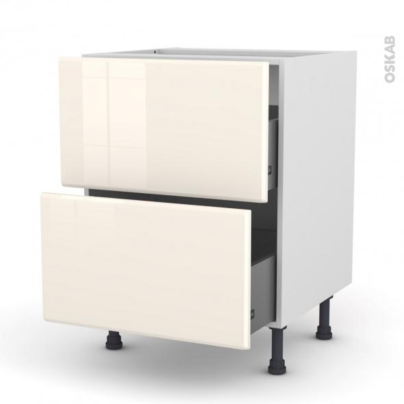 IRIS Ivoire - Meuble casserolier  - 2 tiroirs - L60xH70xP58