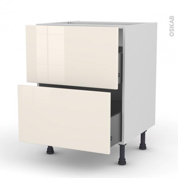 Meuble de cuisine - Casserolier - KERIA Ivoire - 2 tiroirs - L60 x H70 x P58 cm