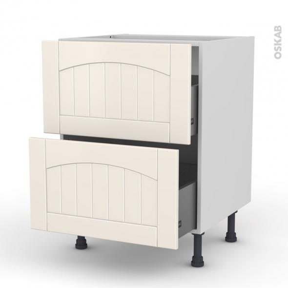 SILEN Ivoire - Meuble casserolier  - 2 tiroirs - L60xH70xP58