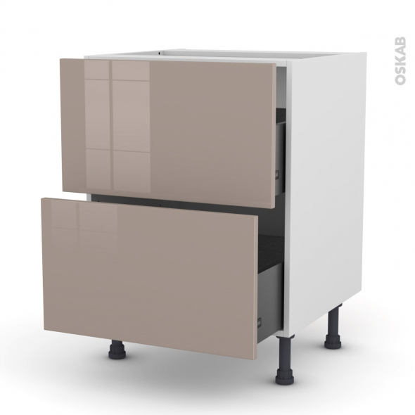 Meuble de cuisine - Casserolier - KERIA Moka - 2 tiroirs - L60 x H70 x P58 cm