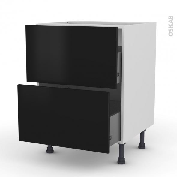 Meuble de cuisine - Casserolier - GINKO Noir - 2 tiroirs - L60 x H70 x P58 cm