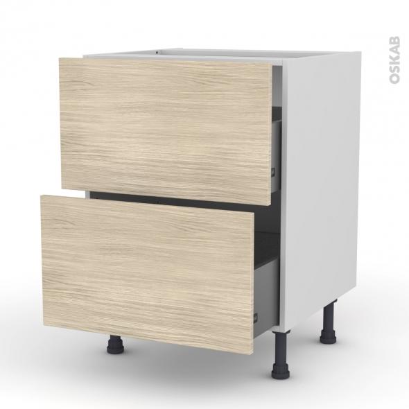 Meuble de cuisine - Casserolier - STILO Noyer Blanchi - 2 tiroirs - L60 x H70 x P58 cm