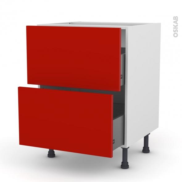 GINKO Rouge - Meuble casserolier  - 2 tiroirs - L60xH70xP58