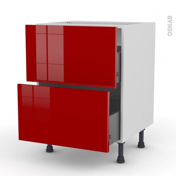 Meuble de cuisine - Casserolier - STECIA Rouge - 2 tiroirs - L60 x H70 x P58 cm