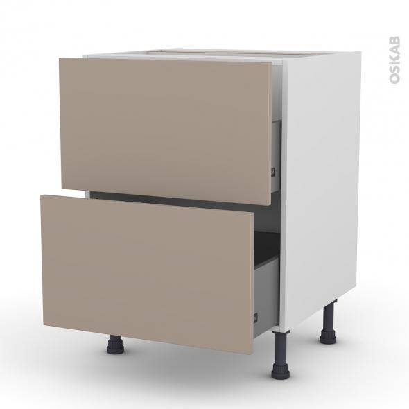 Meuble de cuisine - Casserolier - GINKO Taupe - 2 tiroirs - L60 x H70 x P58 cm