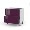 Meuble de cuisine - Casserolier - KERIA Aubergine - 2 tiroirs - L80 x H70 x P58 cm