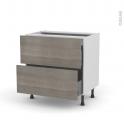 Meuble de cuisine - Casserolier - STILO Noyer Naturel - 2 tiroirs - L80 x H70 x P58 cm