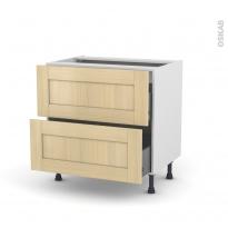 BASILIT Bois Vernis - Meuble casserolier  - 2 tiroirs - L80xH70xP58